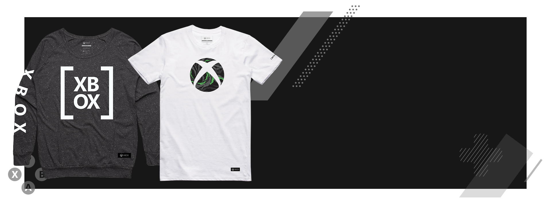 Xbox sweatshirt and t-shirt on black background with graphics overlaid