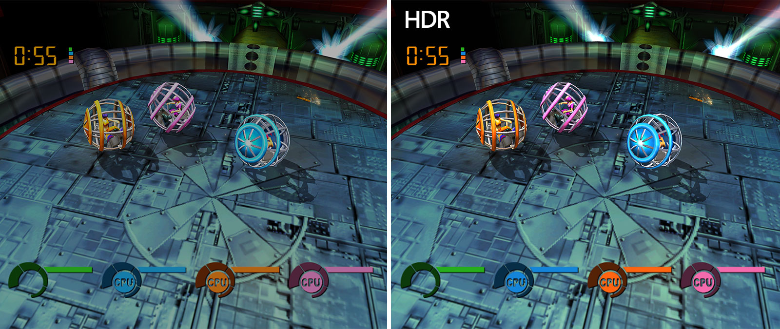 Comparison screenshots of Fusion Frenzy with one being brighter due to Auto HDR