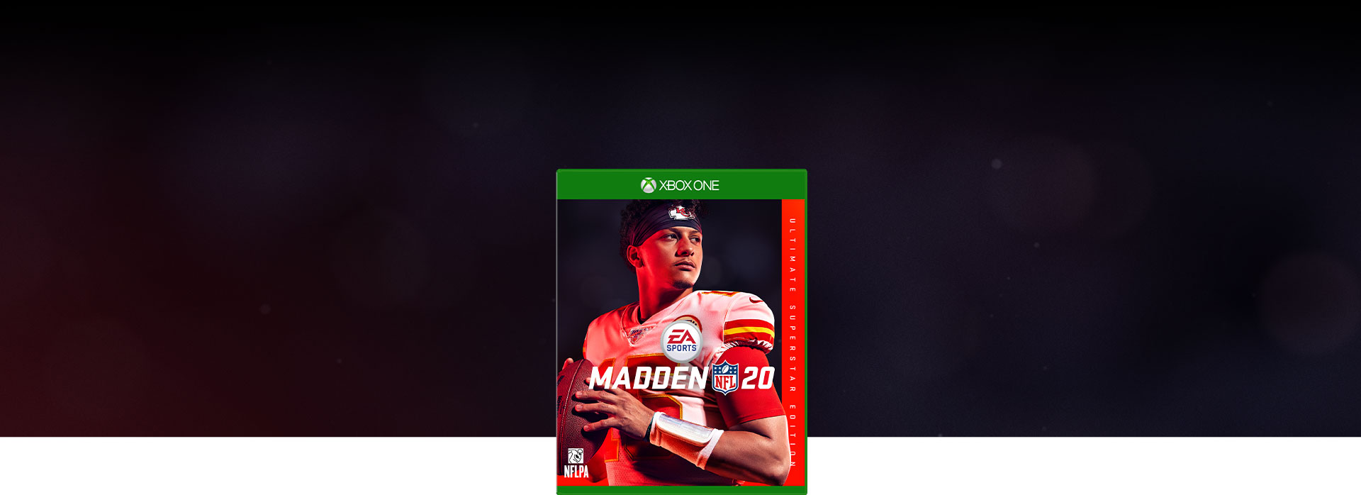 Imagen de la caja de Madden NFL 20, fondo que desvanece de negro a rojo