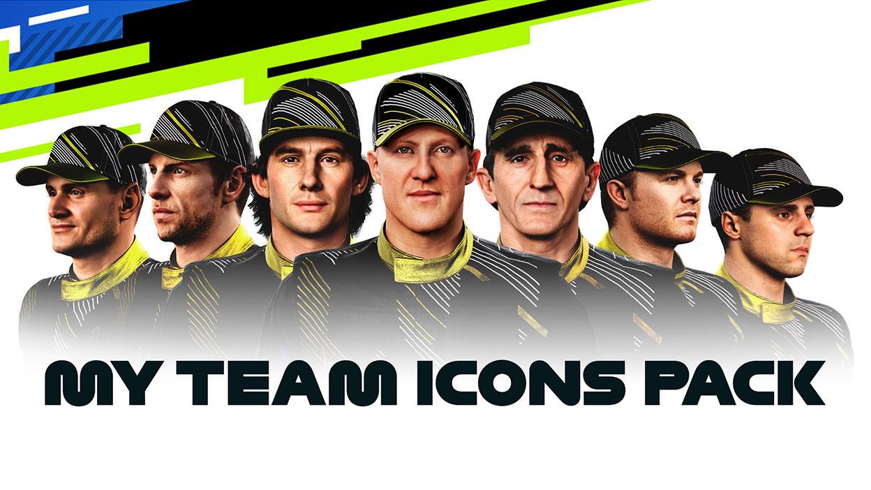 My Team Icons Pack, Eine Reihe von Fahrern in gleichen Uniformen.