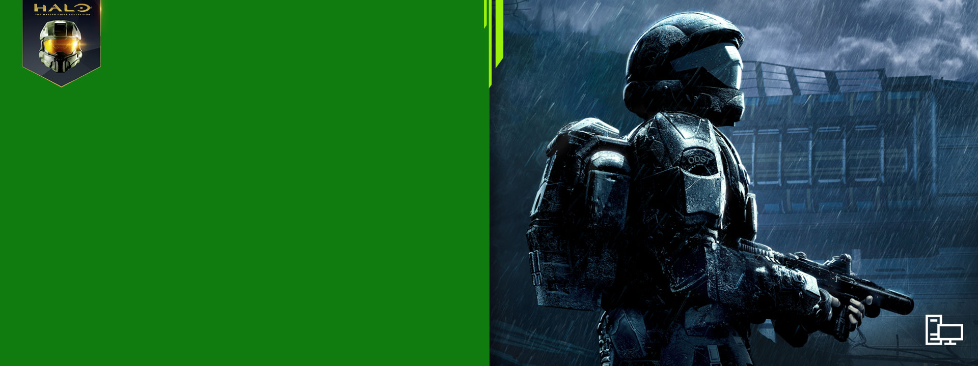 An ODST trooper holds a smg in the rain on New Mombasa. Xbox Game Pass logo, PC icon, Halo badge