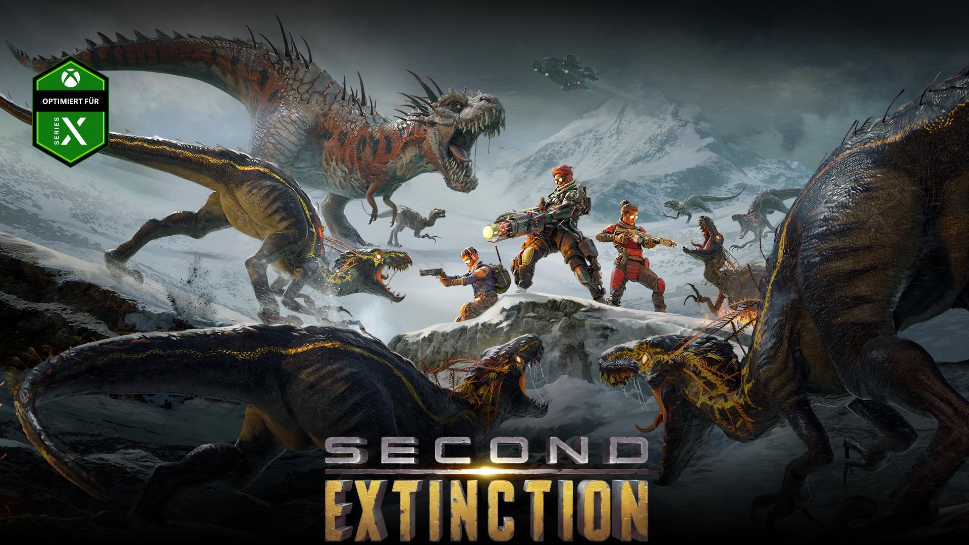 Second Extinction, Optimiert für Series X, eine Gruppe von Figuren stößt mit einer Gruppe von Dinosauriern zusammen.