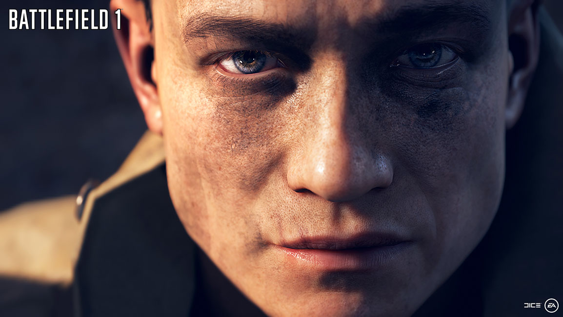 Extreme close up of soldier's dirty face