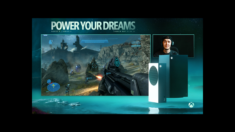 A stream overlay, featuring a large frame with Halo gameplay and a smaller one with the content creator. The overlay includes text, POWER YOUR DREAMS' as well as the Xbox Series X|S