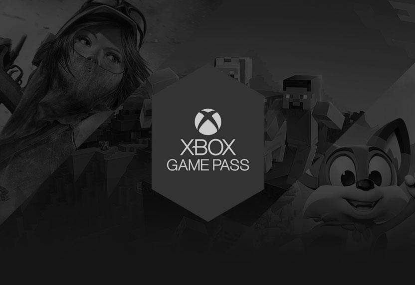 Logo XboxGamePass grisé sur une illustration de jeu en noir et blanc.