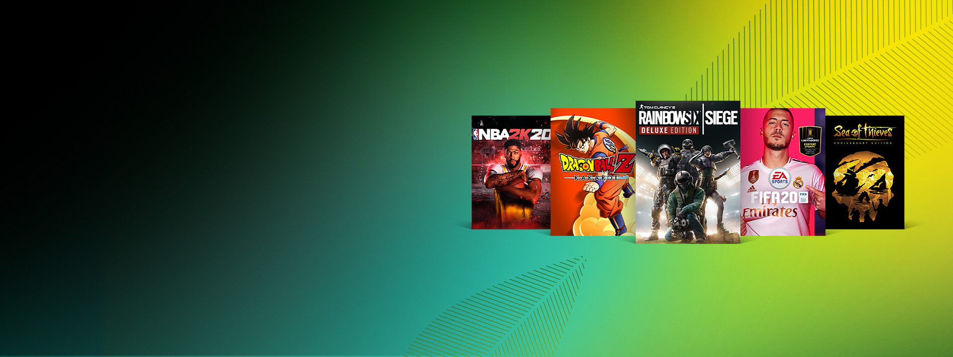 Box art for Xbox One games on sale, including Rainbow Six Siege: Deluxe Edition, Dragon Ball Z: Kakarot, and FIFA 20.