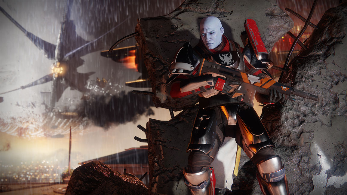 Zavala stands behind some rubble as the Cabal attack the Traveler and Tower