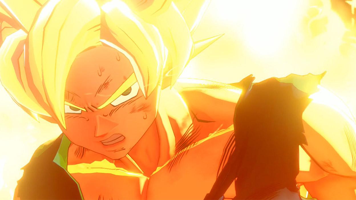 Un Saiyan Goku épuisé est entouré de flammes.
