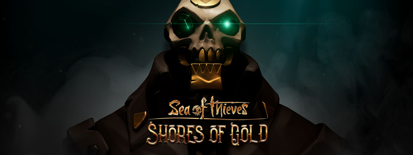 Sea of Thieves Shores of Gold logo on a skeleton pirate with gold teeth and emerald eyes