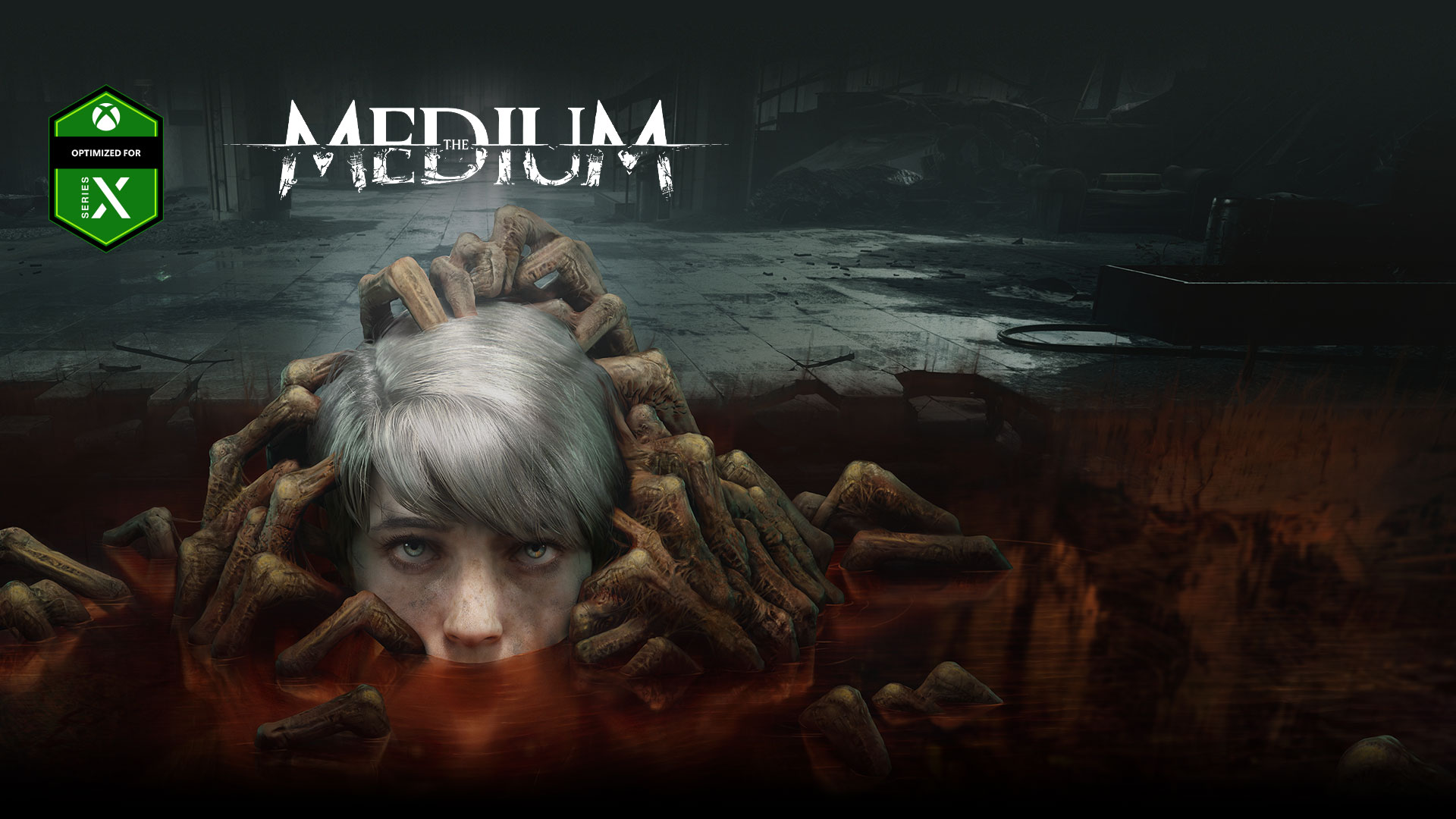 The Medium, Optimized for Series X, A child's head rises from a puddle filled with undead hands.