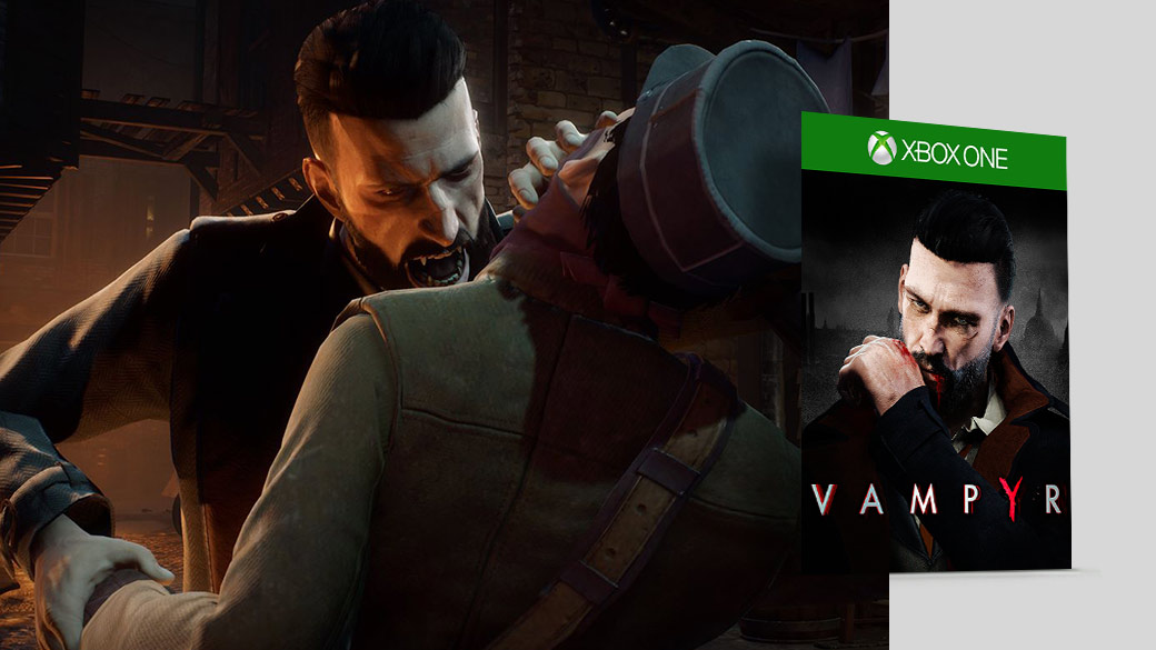 A Vampire biting a neck next to a Vampyr boxshot