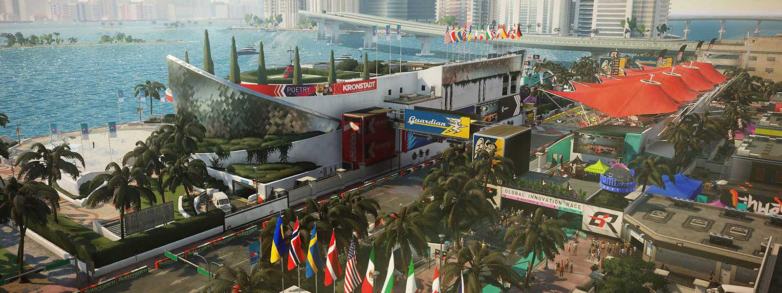 Вид сверху на гоночную трассу на пляже Майами