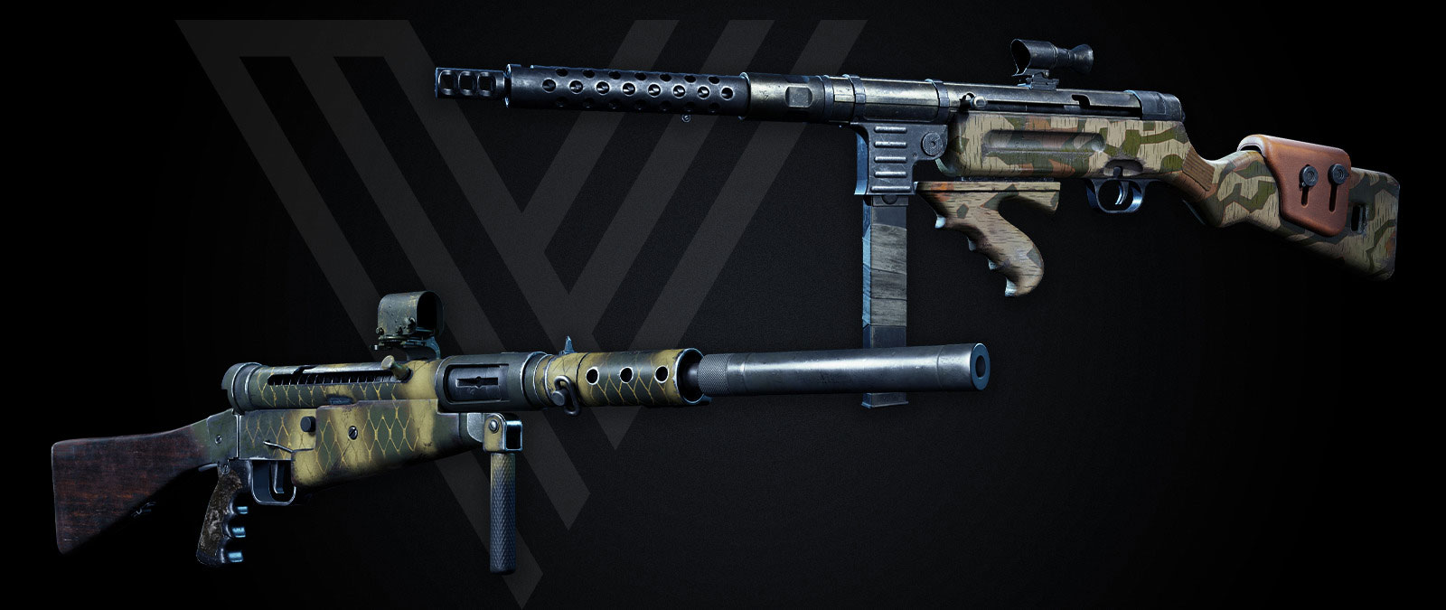 Two guns from the Frontline Weapons Packs