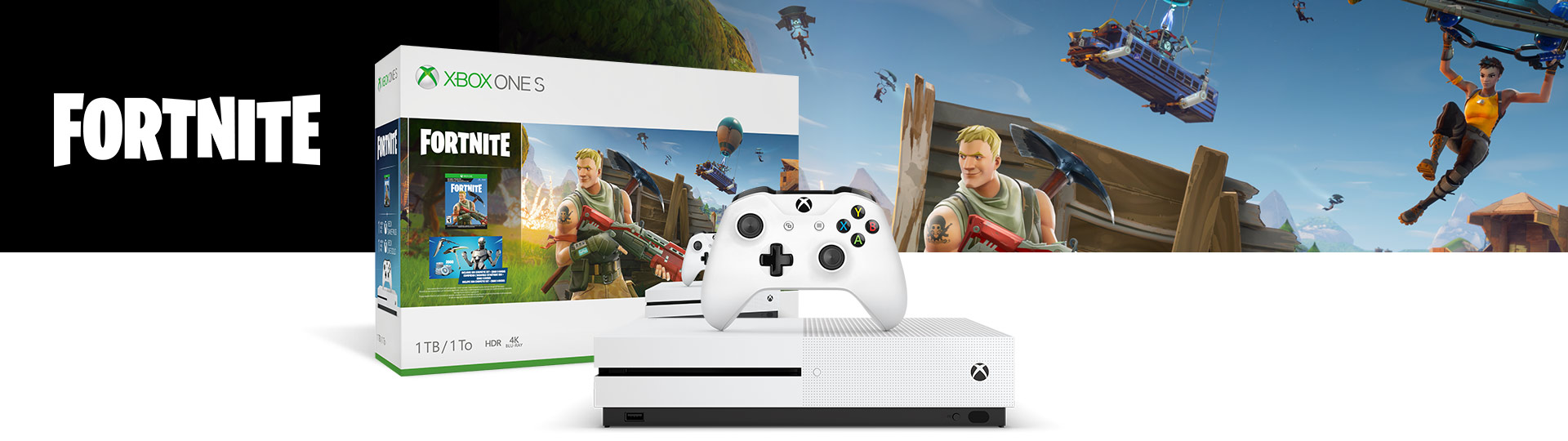 Front view of Xbox One S Fortnite Bundle with product box