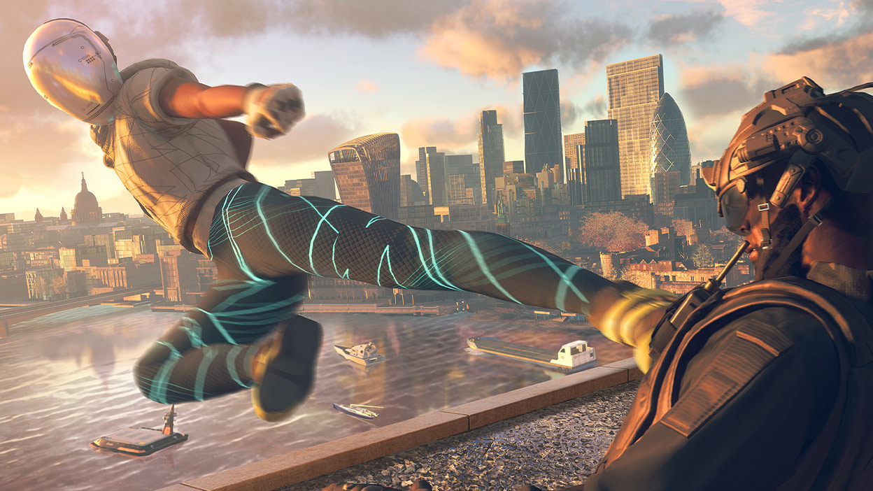 Character kicking in the air with a background of a city in Watch Dogs: Legion