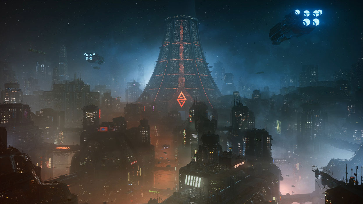 A dense cluster of tall buildings and districts make up a futuristic cyberpunk city