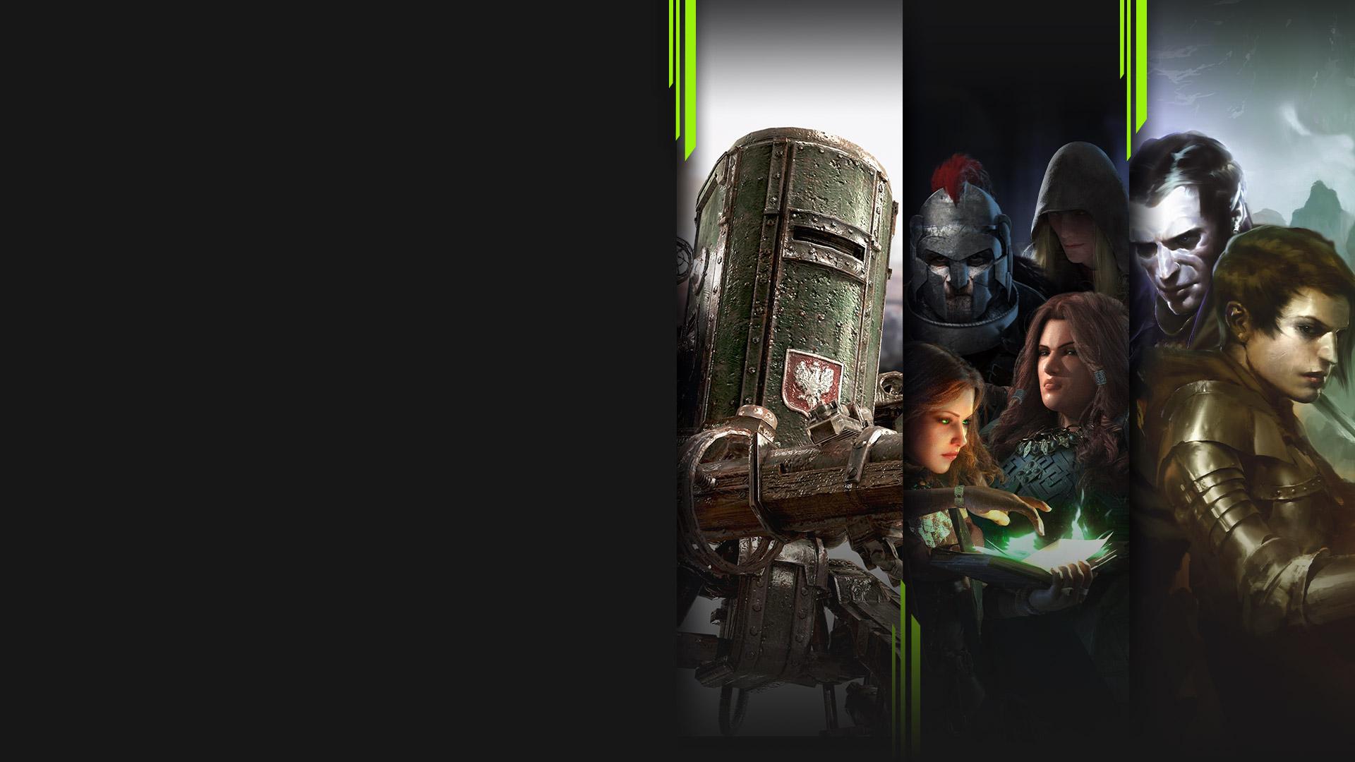 Game art from multiple Xbox Game Pass games available on PC including Iron Harvest, Solasta: Crown of the Magister, SpellForce 3: Soul Harvest, and Backbone.