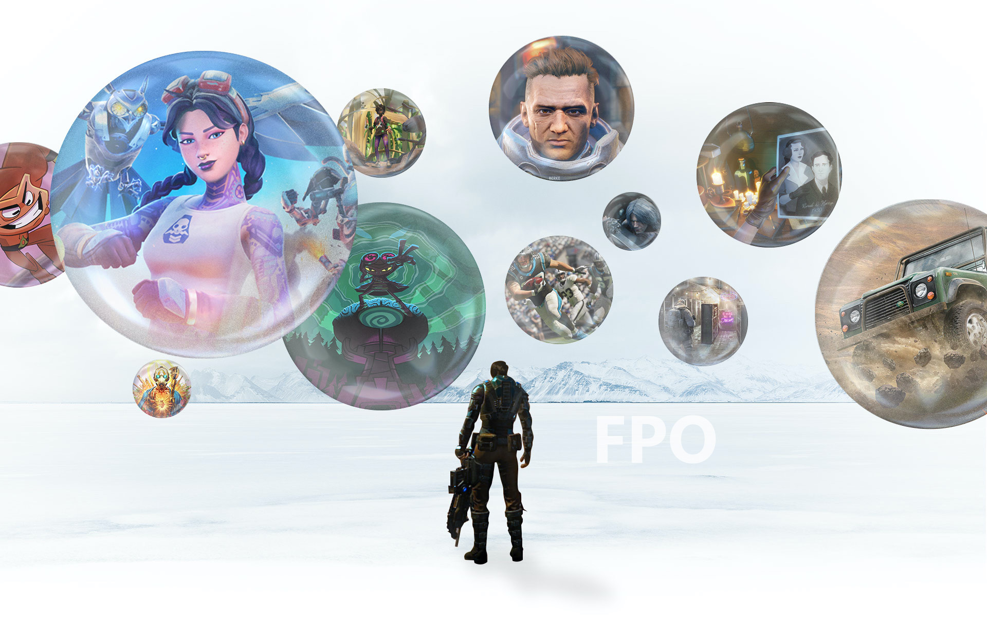 A COG soldier stands on a snowy landscape holding a Lancer assault rifle. Several icons depicting games float overhead. Back layer.