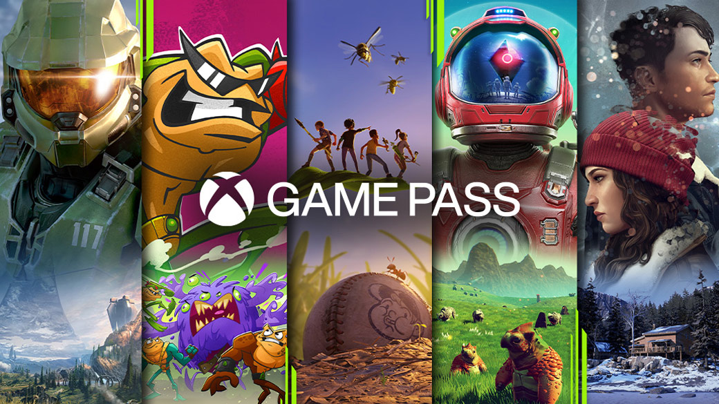 Xbox Game Pass logo surrounded by Xbox Game Charaters form Halo, BattleToads, No Mans Sky and Tell Me Why Two