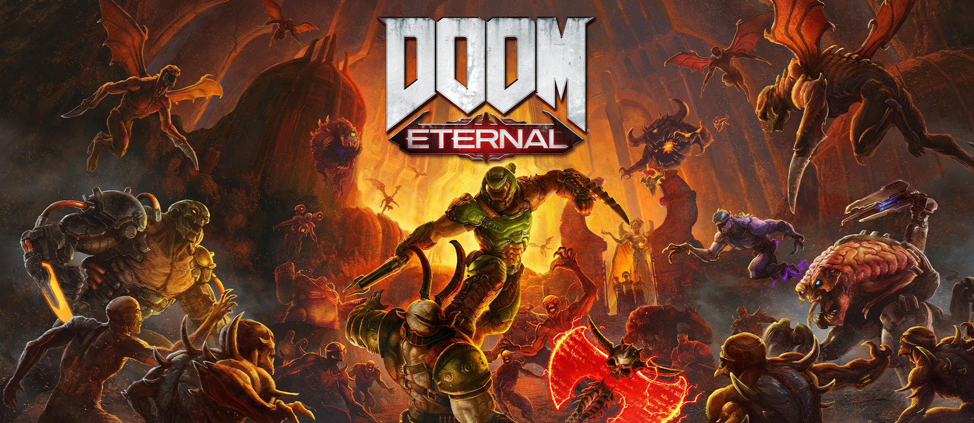 DOOM Eternal, personage vecht tegen een horde monsters.