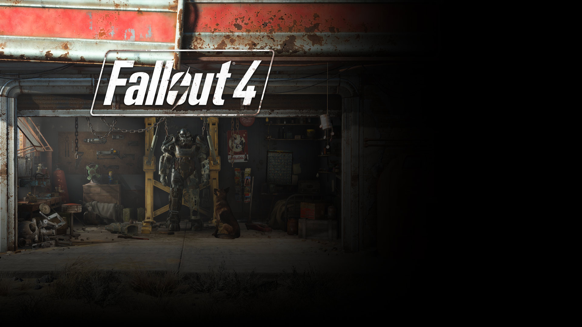 Fallout 4, game image of a mech suit in a garage