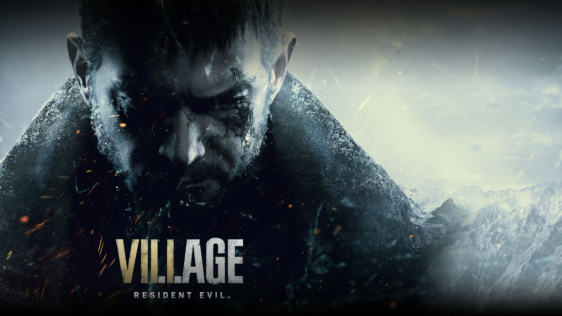 Resident Evil Village, Chris Redfield's somber face on the side of a mountain
