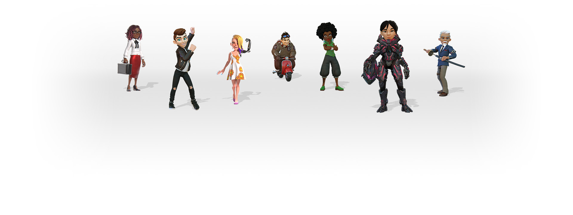 Xbox avatars showing a diverse group of people in different outfits