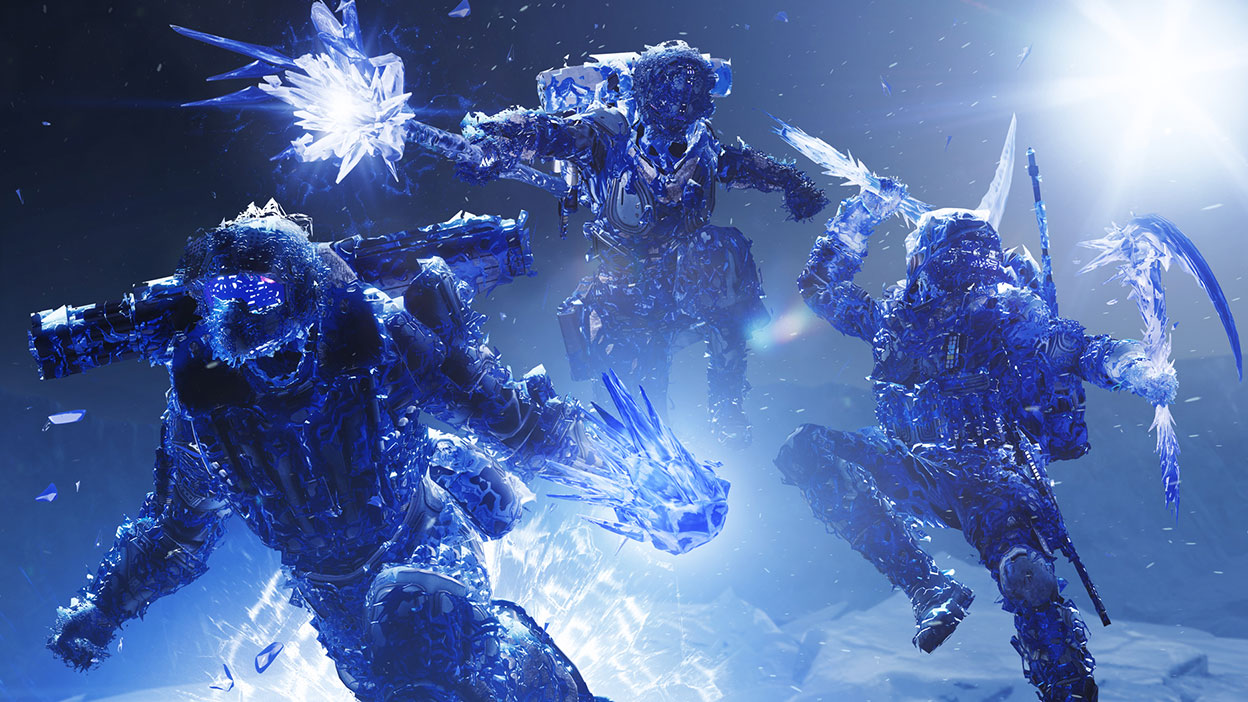 Three guardians encased in ice crystals use their stasis powers