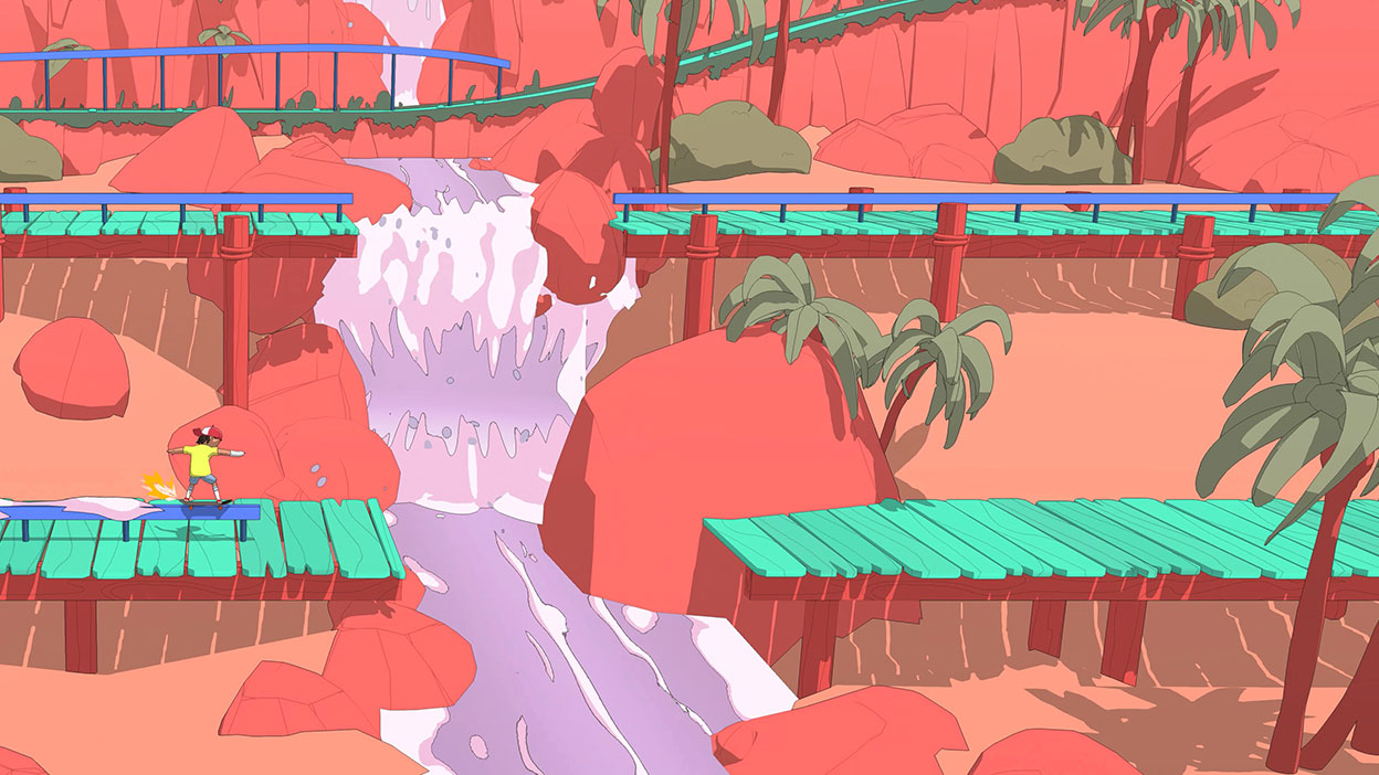 A character rides along a wooden path over a rushing river.