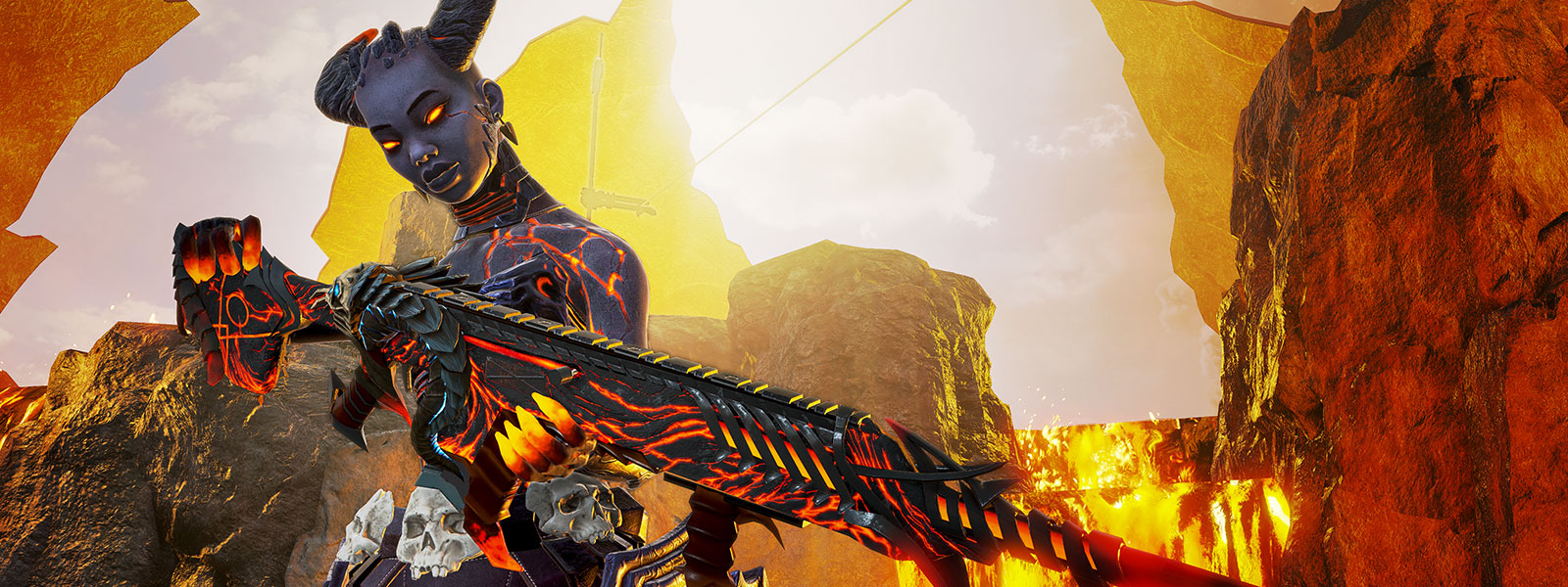A woman made of lava holds a long glowing rifle, rock and lava background