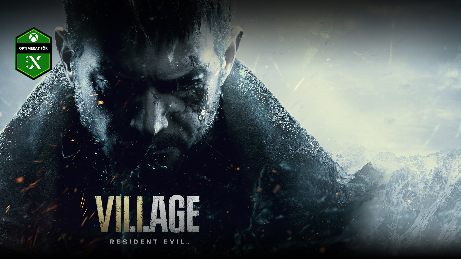 Resident Evil Village, Chris Redfields allvarliga ansikte på sidan av ett berg