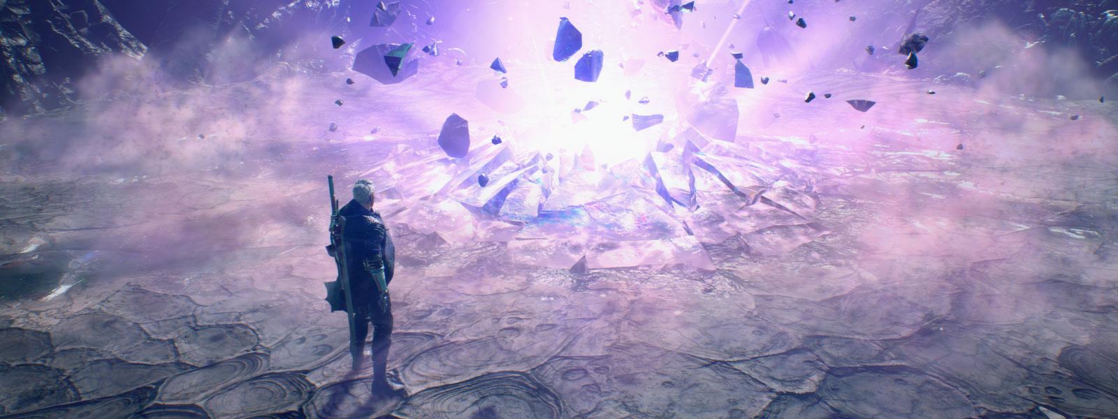 Nero staat naast een grote explosie die een krater slaat