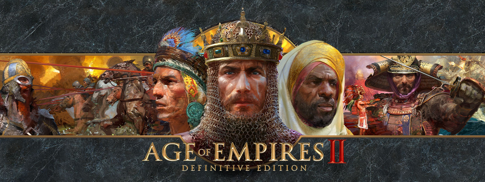Age of Empires II: Definitive Edition logo on a grey slate background featuring war leaders and their armies