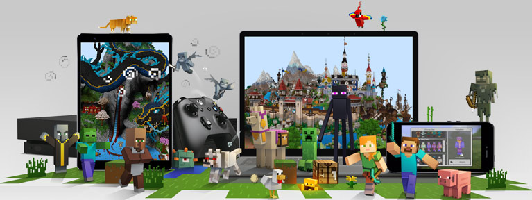 Phone, tablet and laptop with minecraft figures in foreground