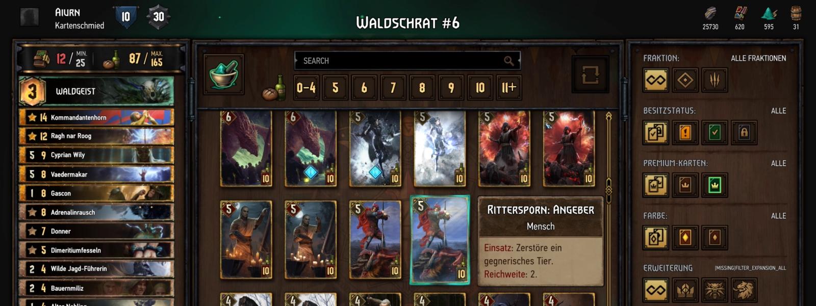 Der Spieler markiert beim Aufbau eines Decks im Deckbuilder eine Karte