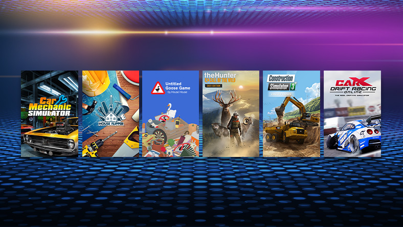 Box art from games that are part of the Simulator Sale, including Car Mechanic Simulator, Untitled Goose Game, and House Flipper.