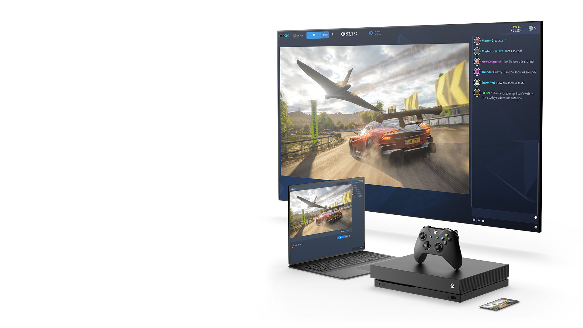 Mobile phone, Xbox One X console, laptop, and television displaying a Mixer stream for Forza Horizon 4