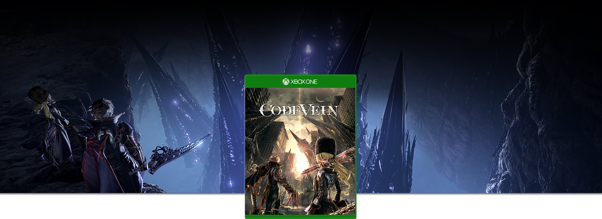 Code Vein boxshot, Characters looking at the Thorns of Judgement from a cliff