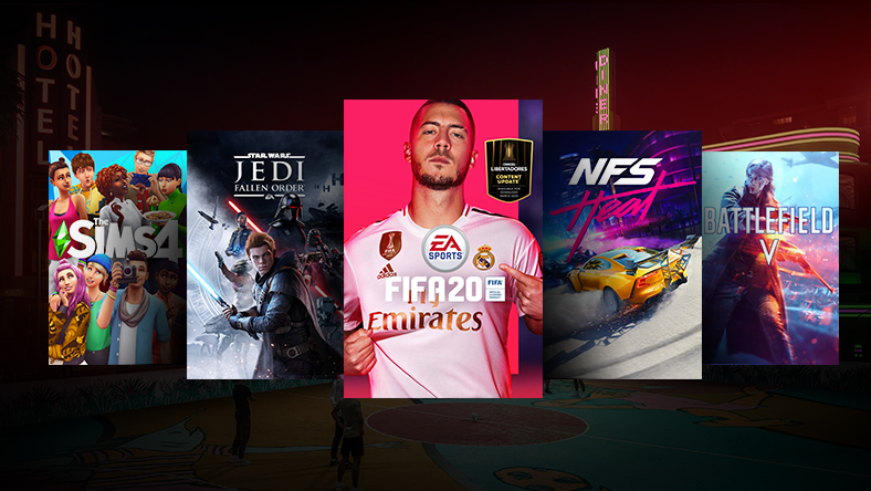 A collage of EA games on sale, including FIFA 20 and Need for Speed: Heat