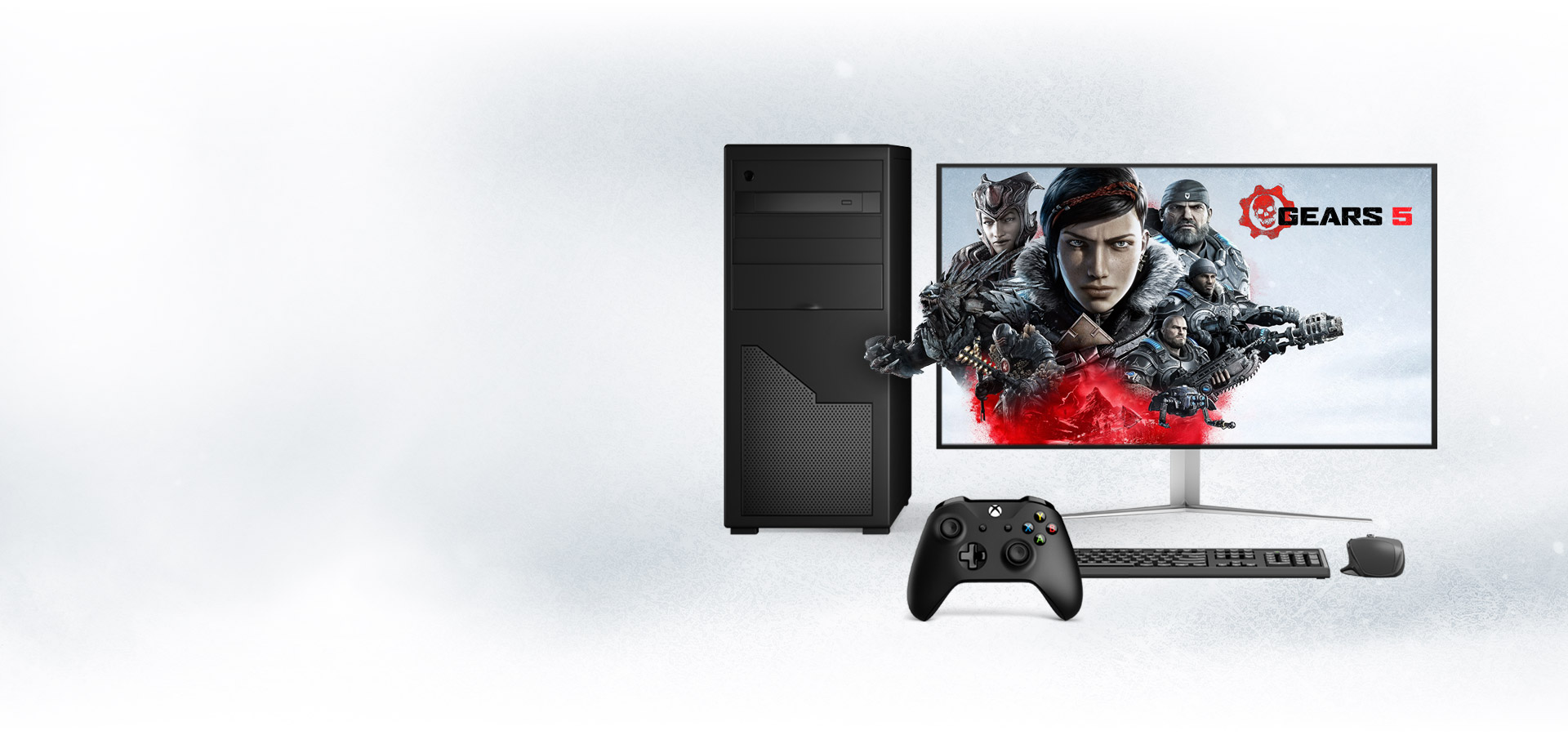 A gaming PC featuring Gears 5 key art on a snowy background
