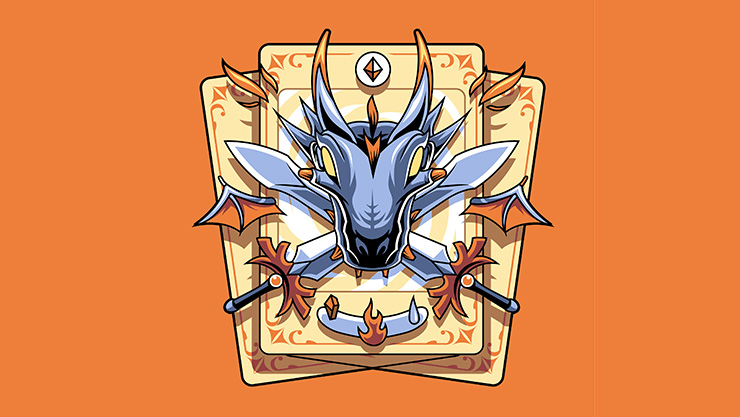 Dragon head and playing card crest on an orange background