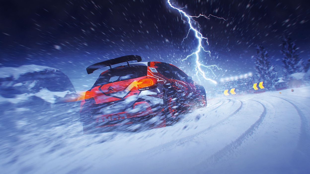 Car in snow racing while lightning strikes