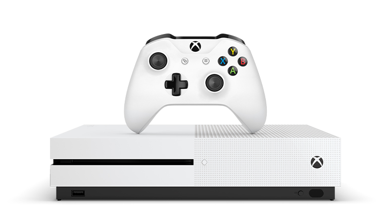 Xbox One S with a controller on top