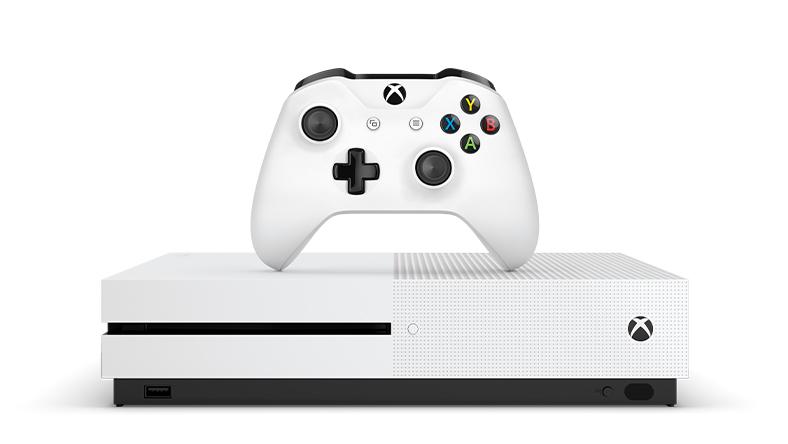Xbox One S med en handkontroll ovanpå