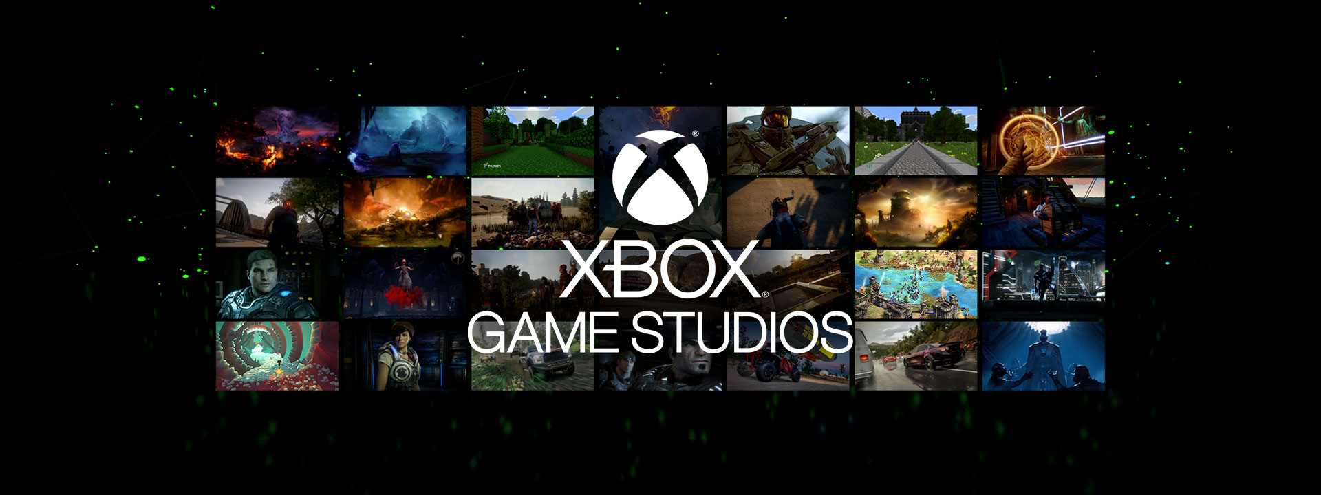 Xbox Games Studios logo over an array of game screenshots
