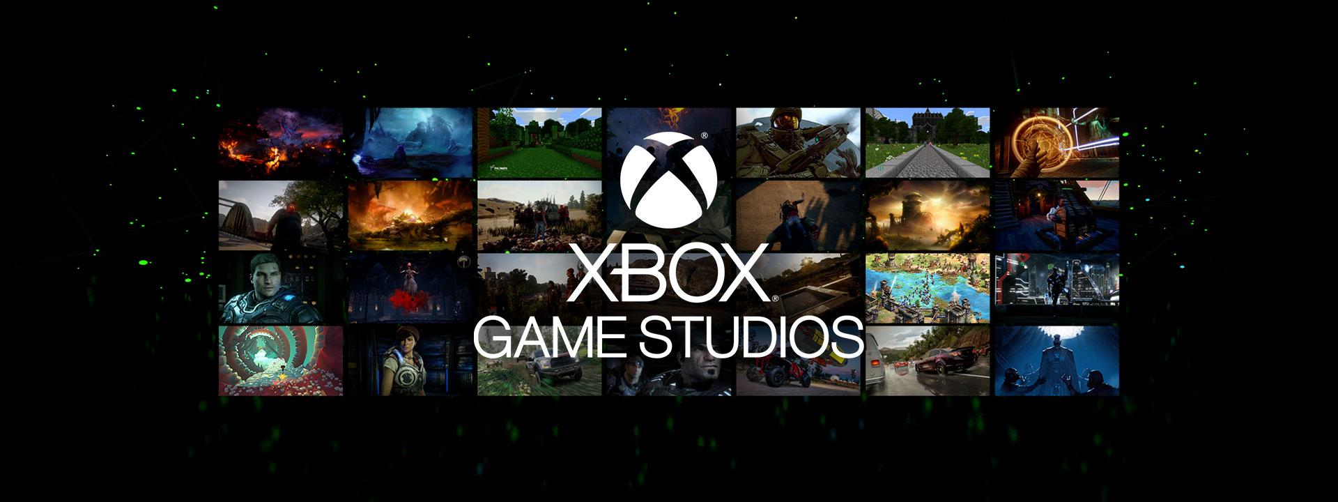 Logótipo do Xbox Games Studios sobre diversas capturas de ecrã de jogos