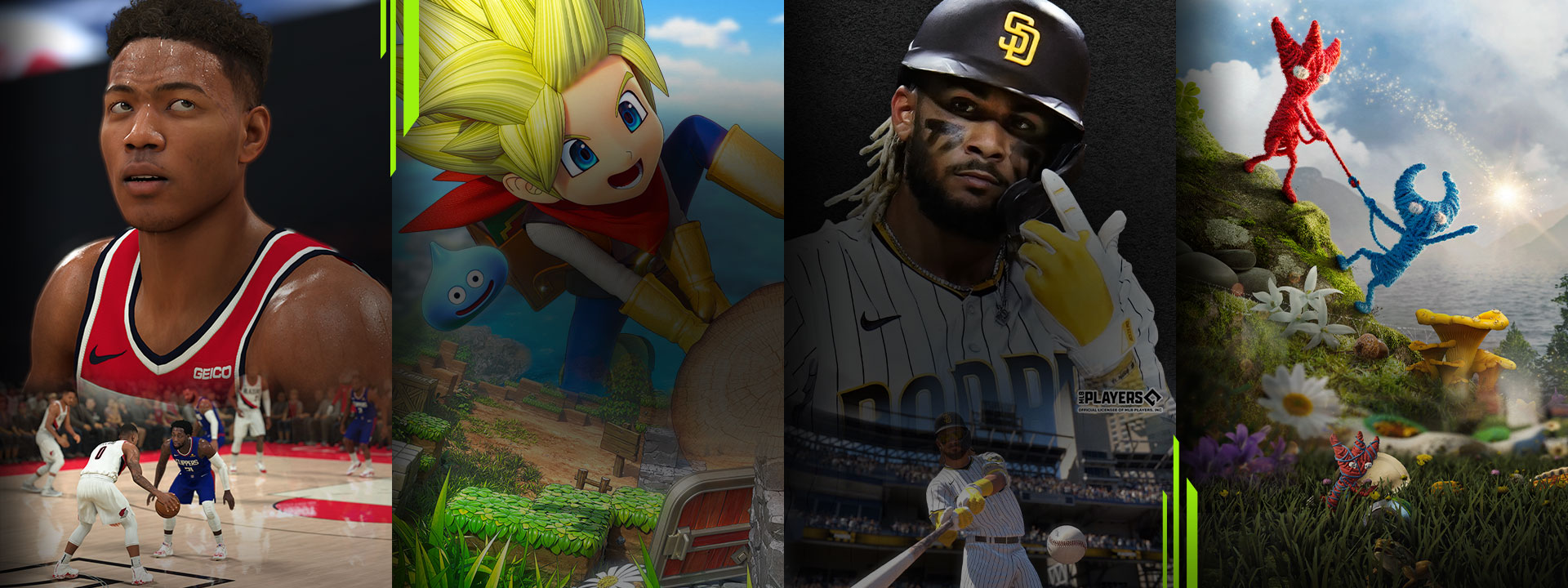 A selection of games available with Xbox Game Pass including NBA 2K21, DRAGON QUEST BUILDERS 2, MLB The Show 21 and Unravel Two.