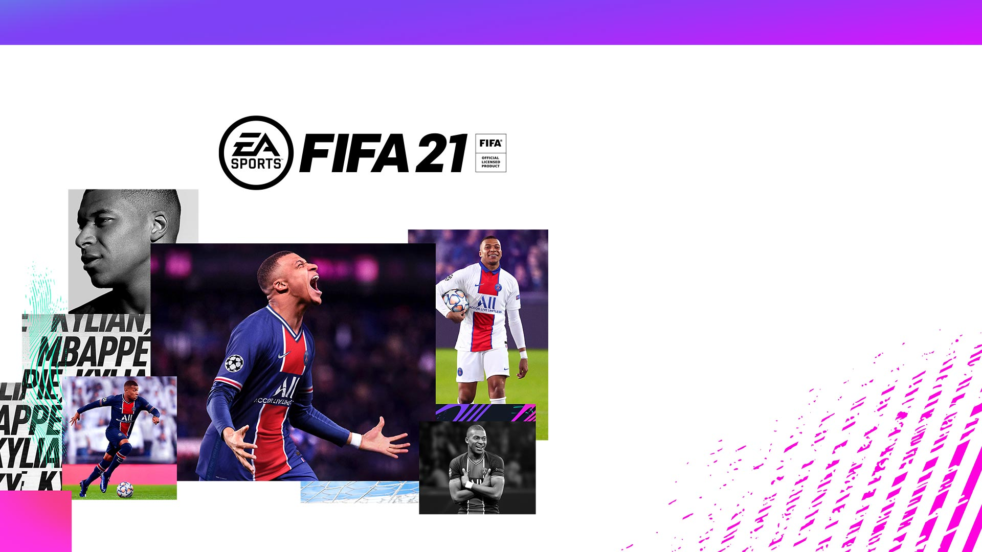 EA Sports logo, FIFA 21, FIFA Official Licensed Product, collage of Kylian Mbappé