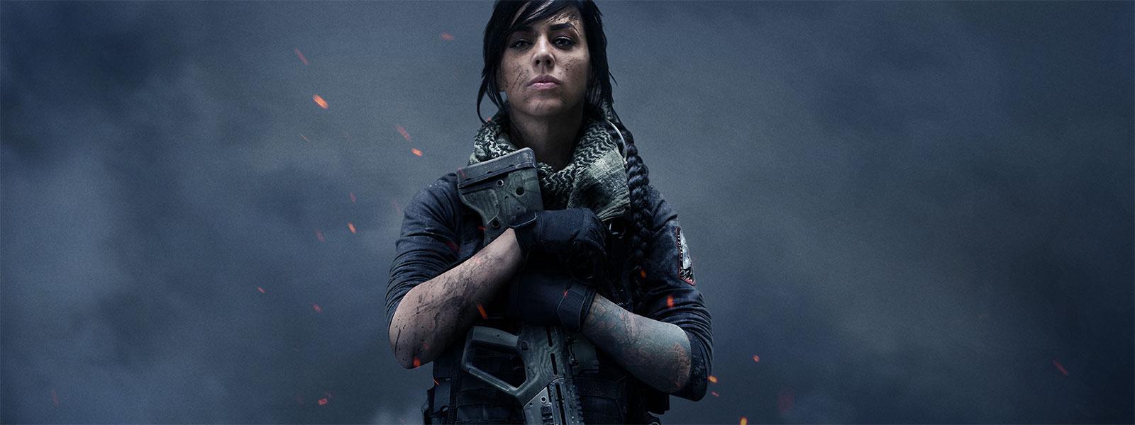 Female character holding a gun