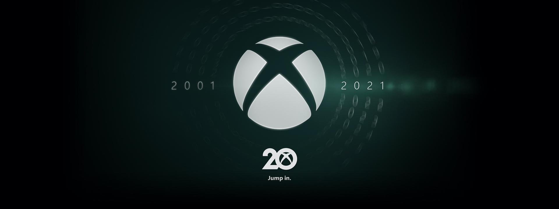 Xbox'ın 20. yılını simgeleyen 2001 ve 2021 yıllarının ortasında duran Xbox bağlantı logosu.